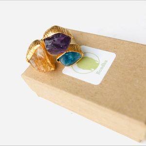 Citrine, Amethyst, Apatite Raw Chunk 24K Gold Ring